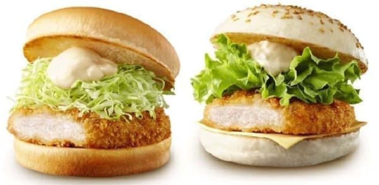 塩麹ロースカツバーガー(左)とちょっと贅沢 塩麹ロースカツバーガー(右)