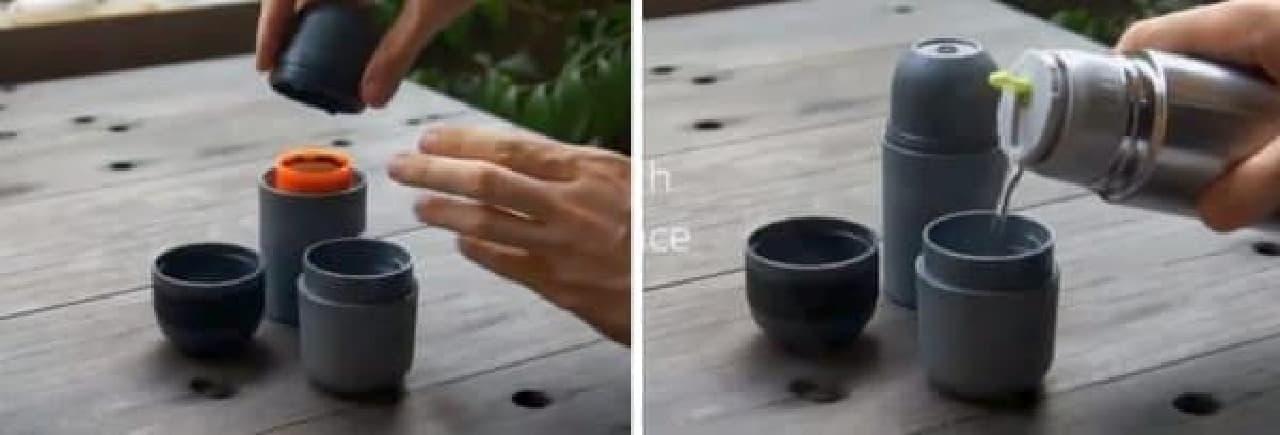 コーヒー豆を入れて(左)、お湯を注いで(右)