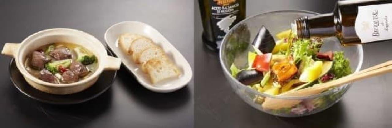 左:「ハツとブロッコリーのアヒージョ」  右:野菜を焼きオリーブオイルをかけて食べる「グリルサラダ」