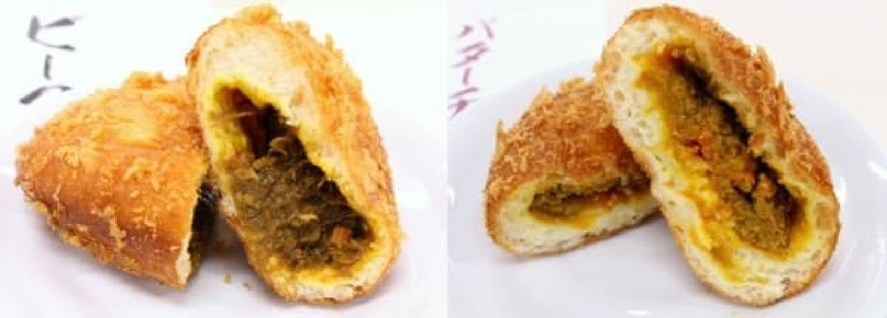 ビーフカレー(左)とバターチキンカレー(右)
