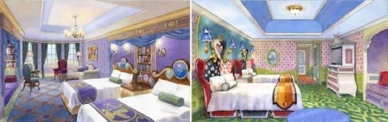 左:美女と野獣 ルーム 右:ふしぎの国のアリス ルーム