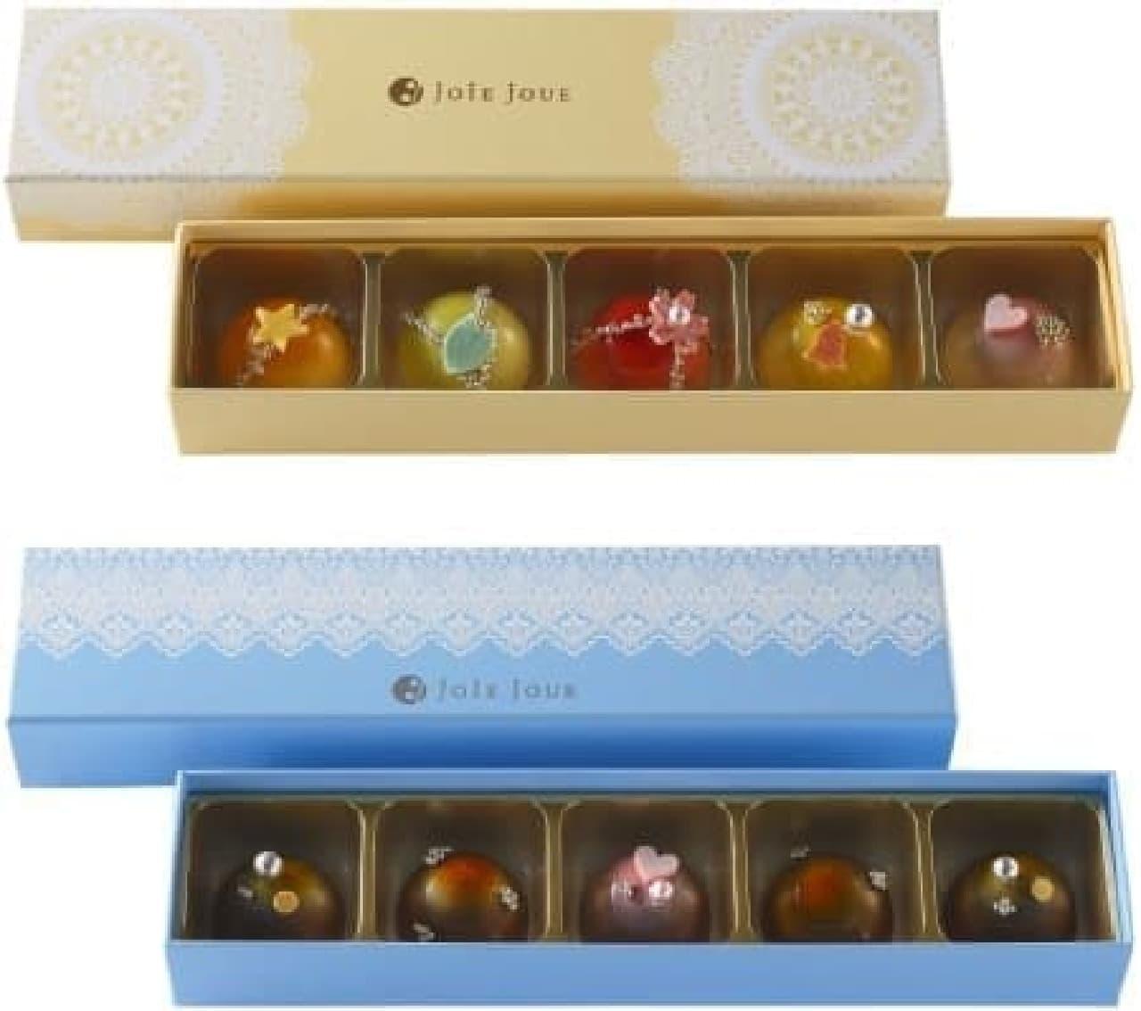 上:ホワイトチョコレート(5種5個入り)  下:ミルクチョコレート(3種5個入り)