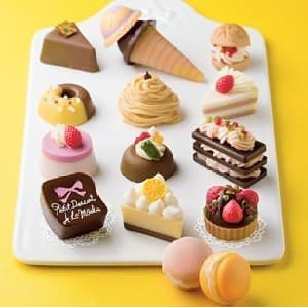ケーキやタルト、マカロンも!全部チョコで出来てます