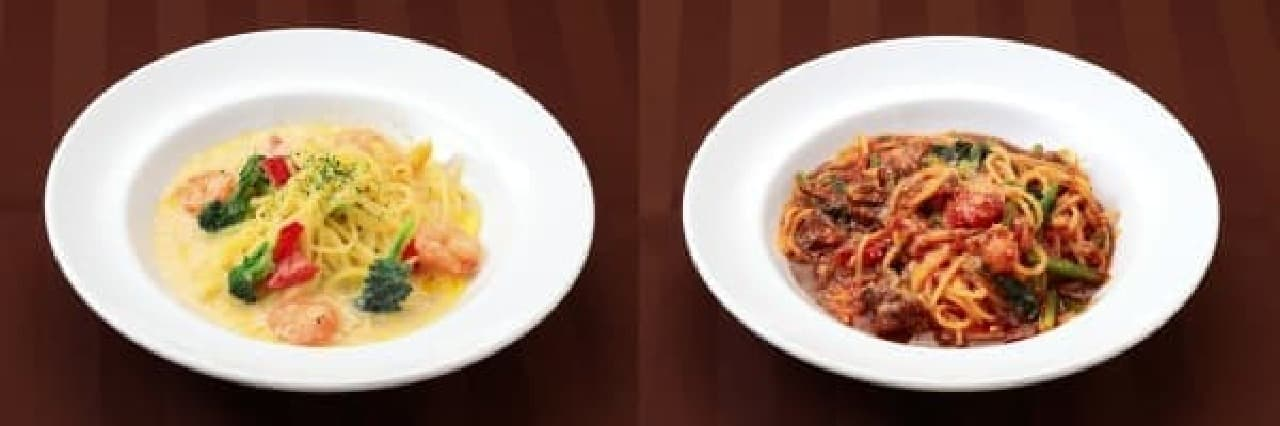 左:海老のホワイトチョコレートクリームソース  右:ビーフラグーのブラックチョコレートスパゲティー