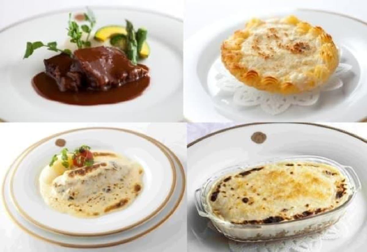 牛タンシチュー ポテトピューレ添え(左上)、帆立貝のコキーユグラタン(右上)  舌平目とホワイトソースのオーブン焼き ボンファンスタイル(左下)、和牛カレーピラフのモルネーソース風グラタン(右下)