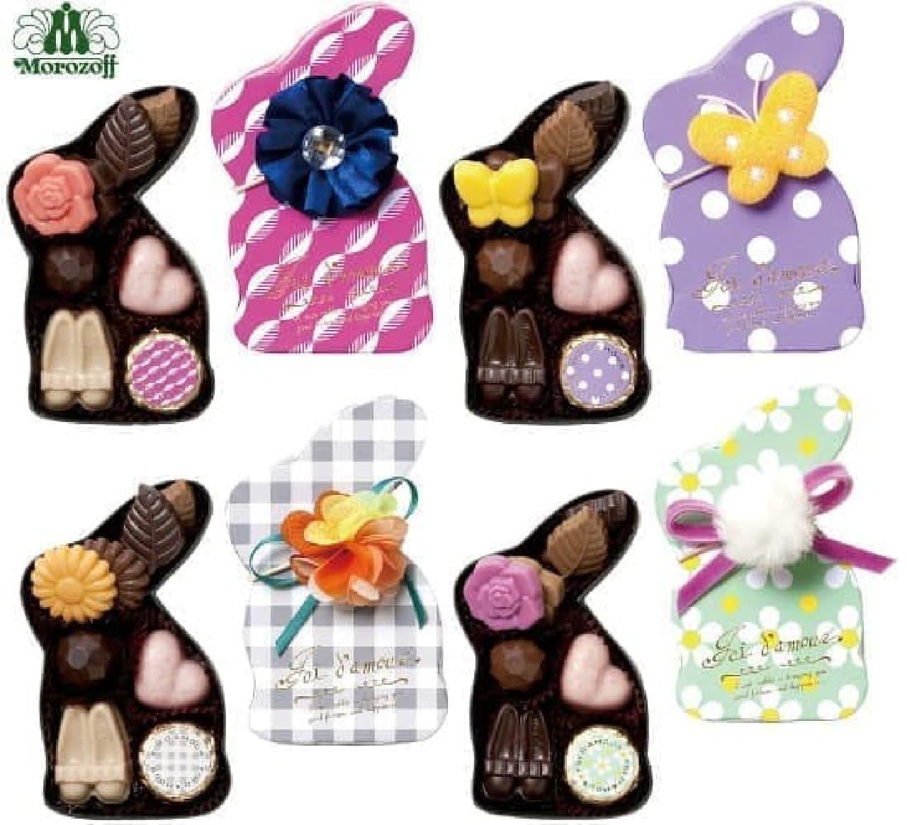 ウサギ型の箱には、髪飾りにもなるコサージュ付き