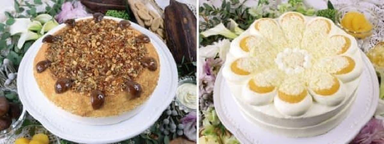 左:栗とブロンドチョコレートのクラシックショコラタルト  右:柑橘とホワイトチョコレートのクラシックショコラタルト
