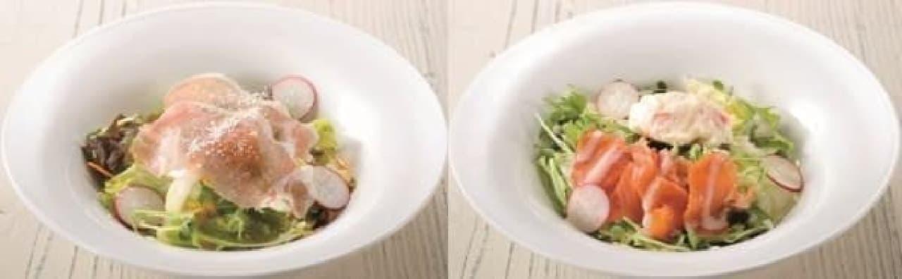 生ハムサラダ(左)とポテトとスモークサーモンのサラダ(右)