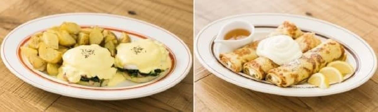 人気メニューのエッグスベネディクト(左)とクレープ(右)