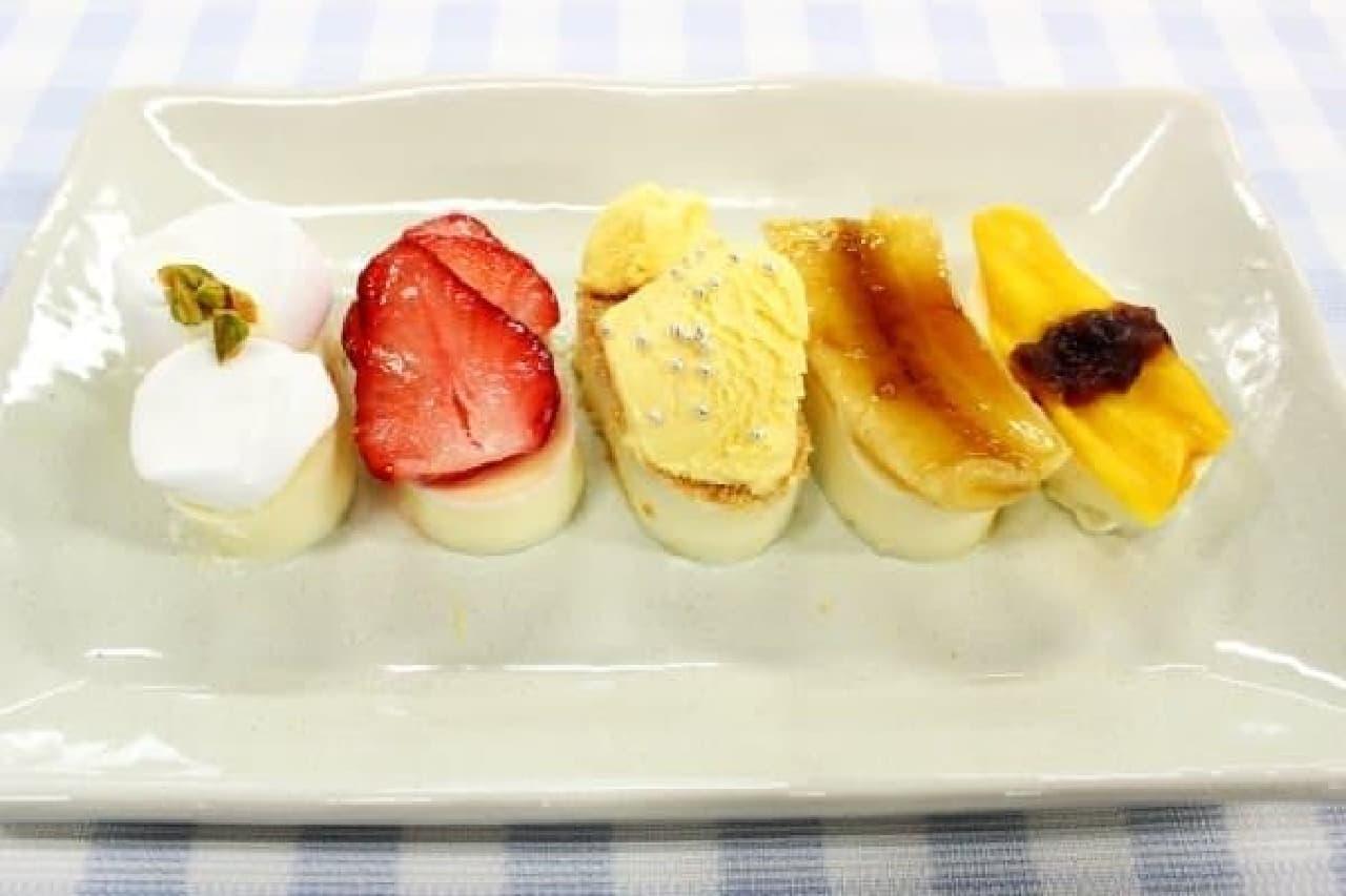 寿司のスタメン 左から、イカ、マグロ、ほたて、穴子、玉子(のり部分は粒あん)
