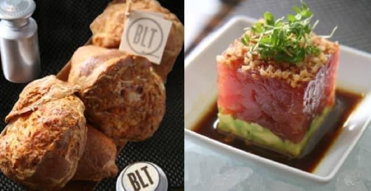 熱々のポップオーバー(左)や、新鮮な魚介類を使ったアペタイザー(右)も