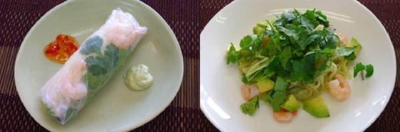 左:パクチー生春巻き 右:米麺のパクチーソース