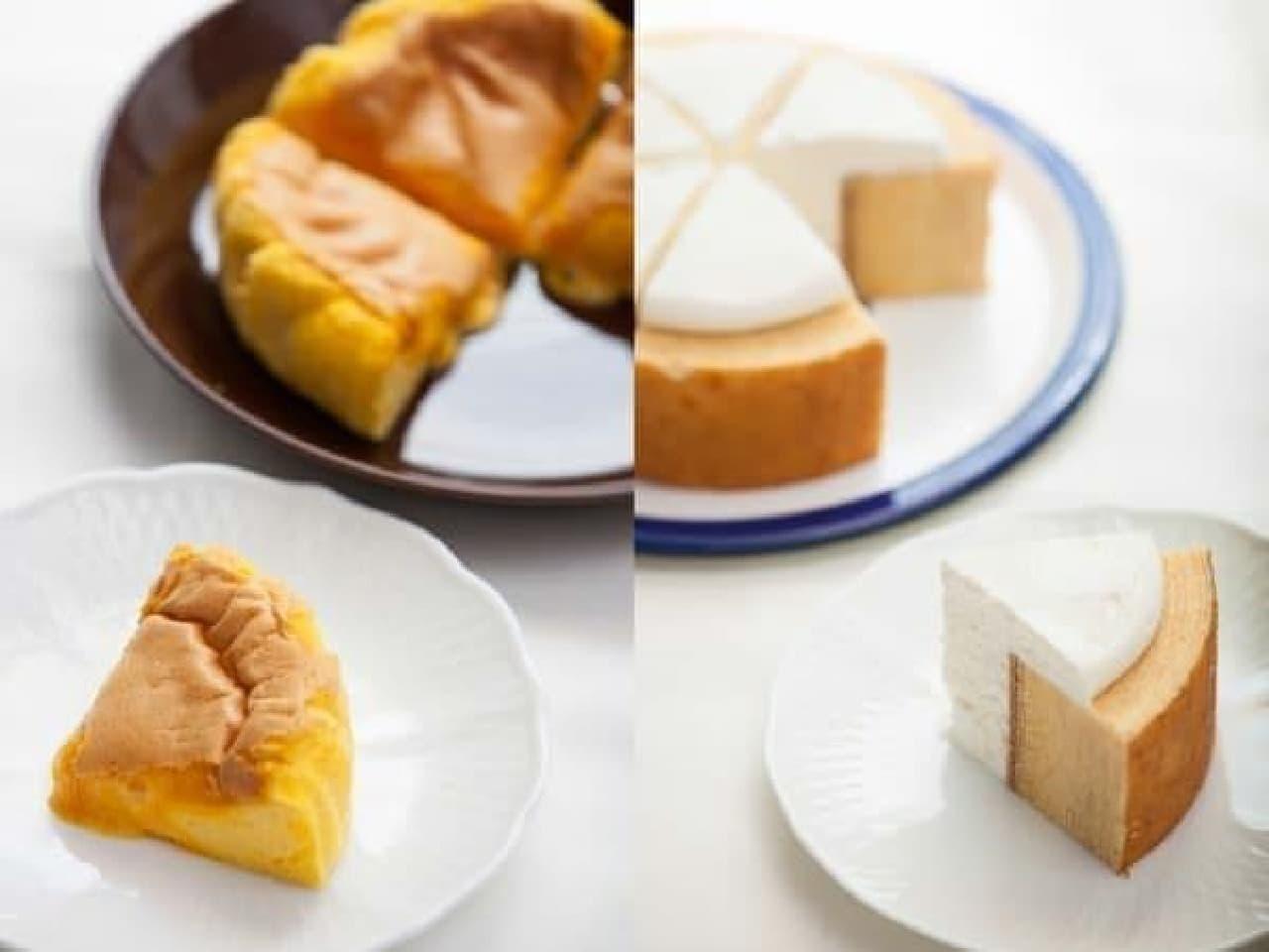 たまごの半熟カステラ(左)、バウムクーヘンクリーム添え(右)