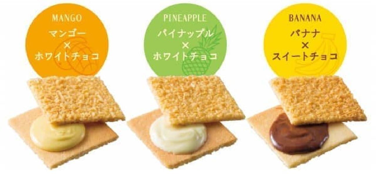 サンドされているチョコクリームは3種類