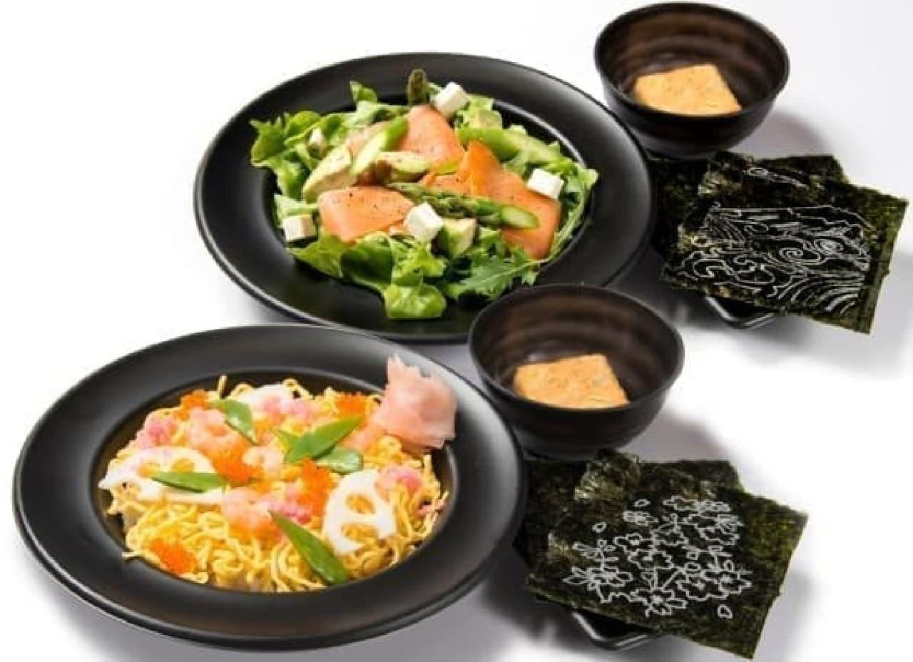 手前:四季の花ちらし寿司 奥:四季の洋風ちらし寿司
