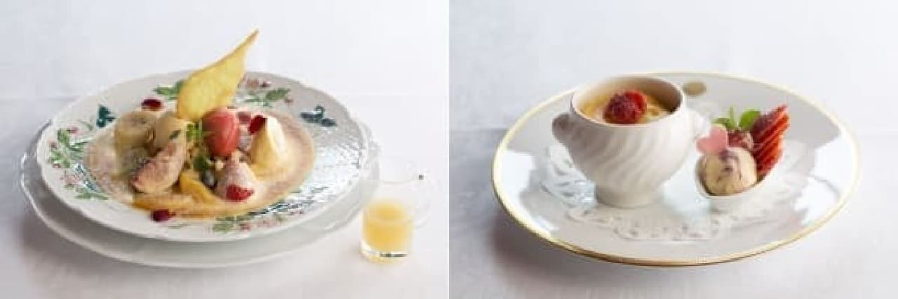春のフルーツグラタン(左)、壺チーズケーキ(右)