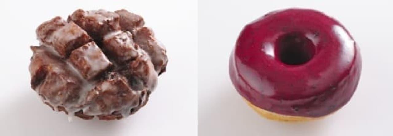 アップル フリッター(左)とブルーベリー バーボン バジル リング(右)