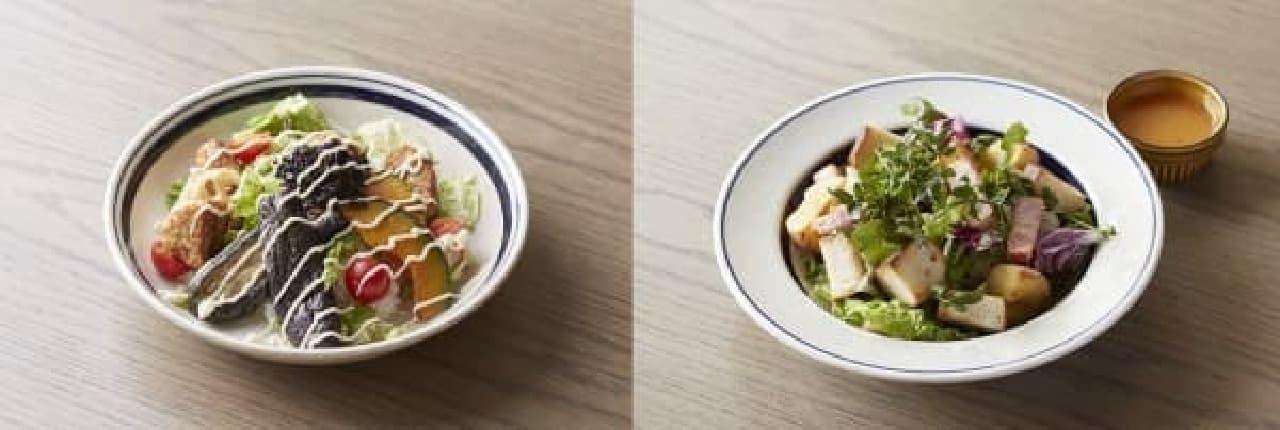 鶏つくねと揚げ野菜の和風サラダ丼(左)と  クレソンと揚げジャガ芋のサラダ(右)