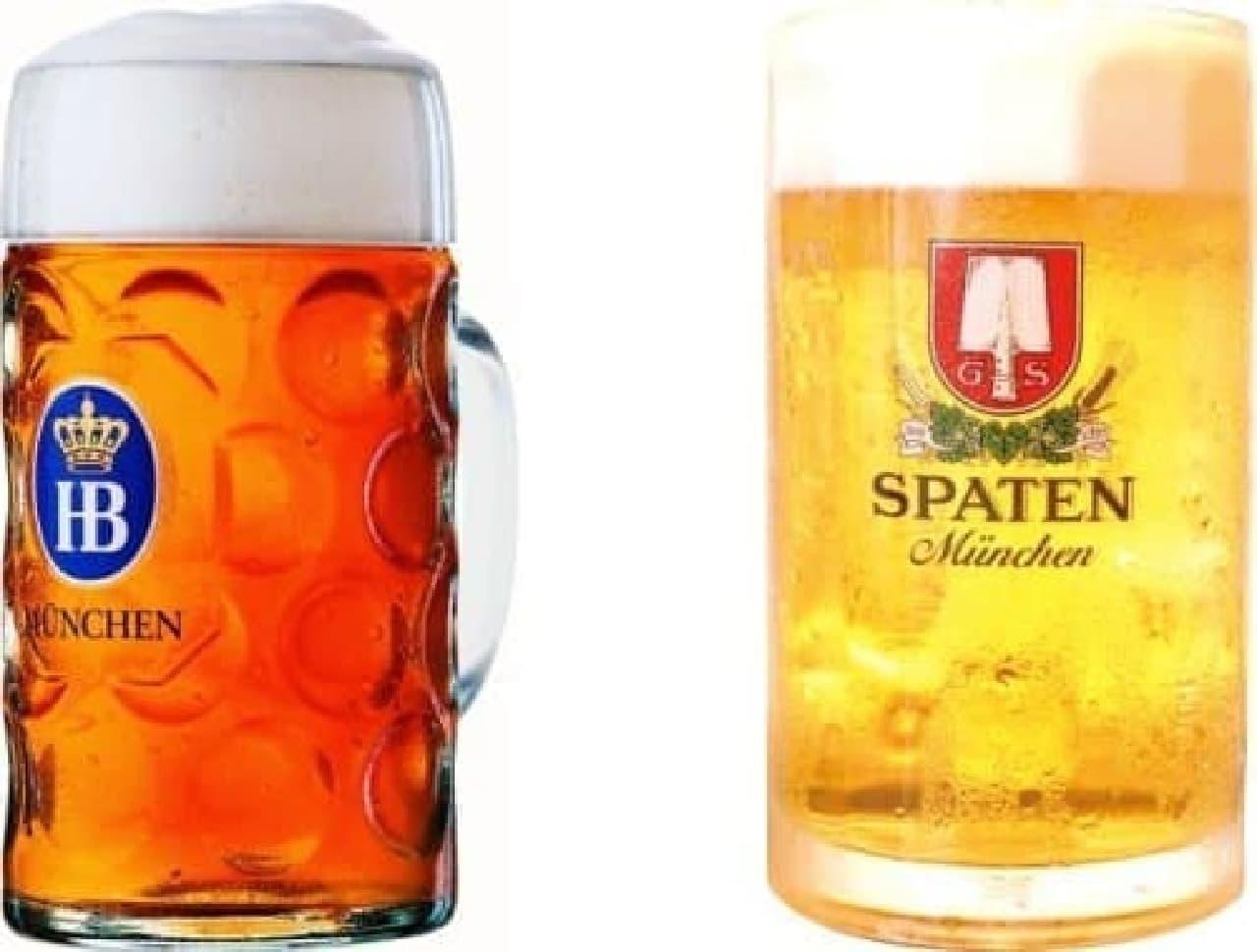 ついに池袋でも「本場のドイツビール」が味わえるぞ!  (写真は左がホフブロイ、右がシュパーテン)