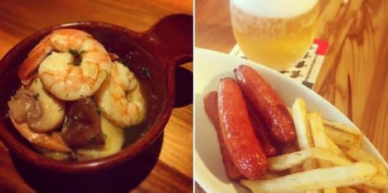 海老と4種キノコの焼きアヒージョ(左)とソーセージ&チョリソー(右)