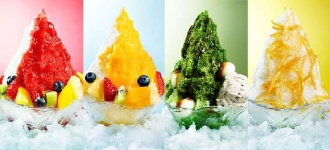 夏を先取る4つのフレーバー!  左からフルーツいちご、フルーツマンゴー、宇治抹茶、レモン×ヨーグルト