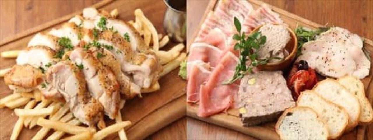 5種のスパイス!若鶏のハーブグリル(左)  肉屋のおすすめプレート(右)