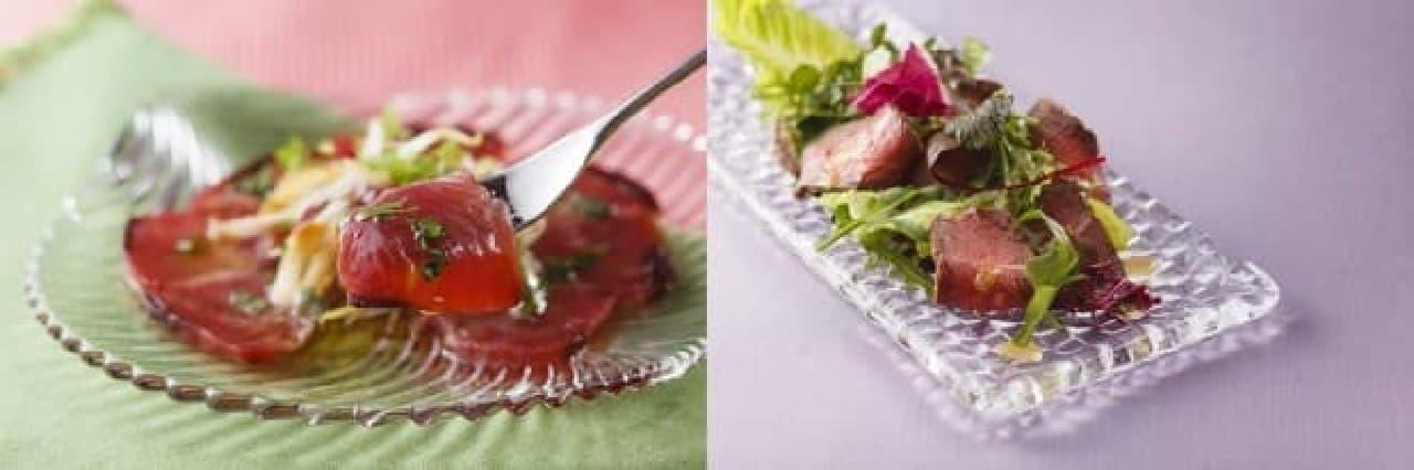 鰹のカルパッチョ(左)と千葉産牛の冷製ローストサラダ仕立て(右)