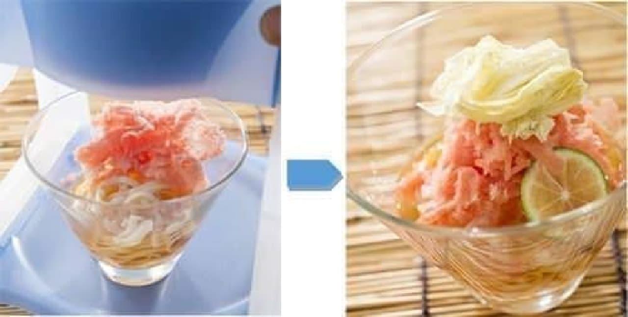 カキ氷と稲庭うどんの斬新な組み合わせ