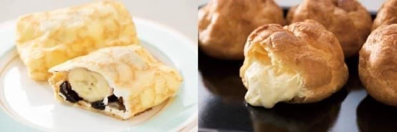 チョコバナナクレープ(左)とたっぷりカスタードシュー(右)