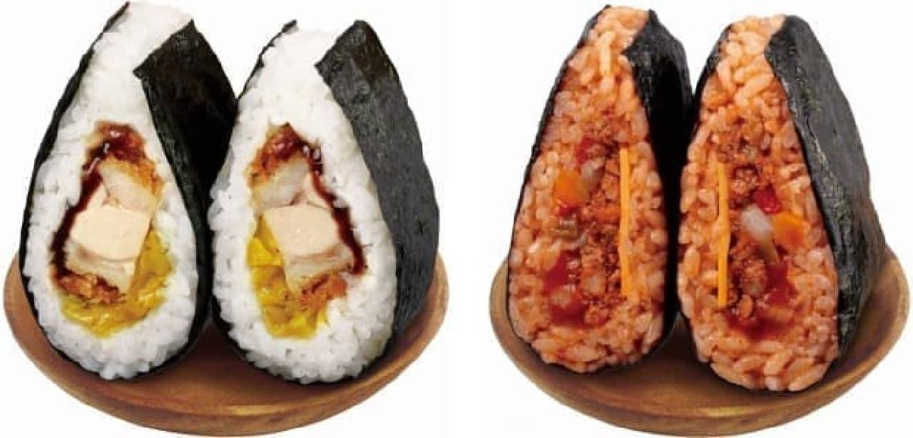 食べごたえのある「チキンカツ」(左)と、ピリッと辛い「タコライス」(右)