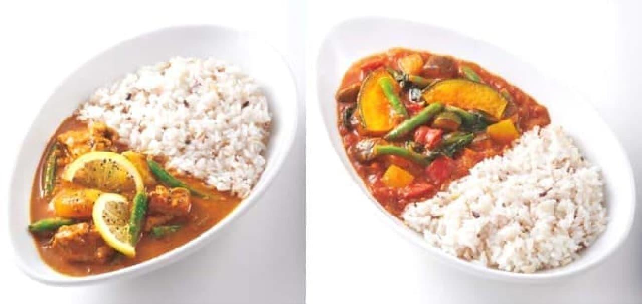 左から「レモンペッパーチキンカレー」「1日分の緑黄色野菜がとれるカレー」