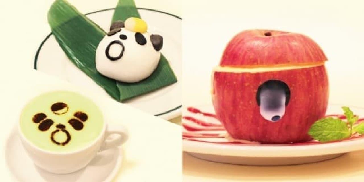 左:パンダのお抹茶ラテセット 右:リンゴゾンビシャーベット