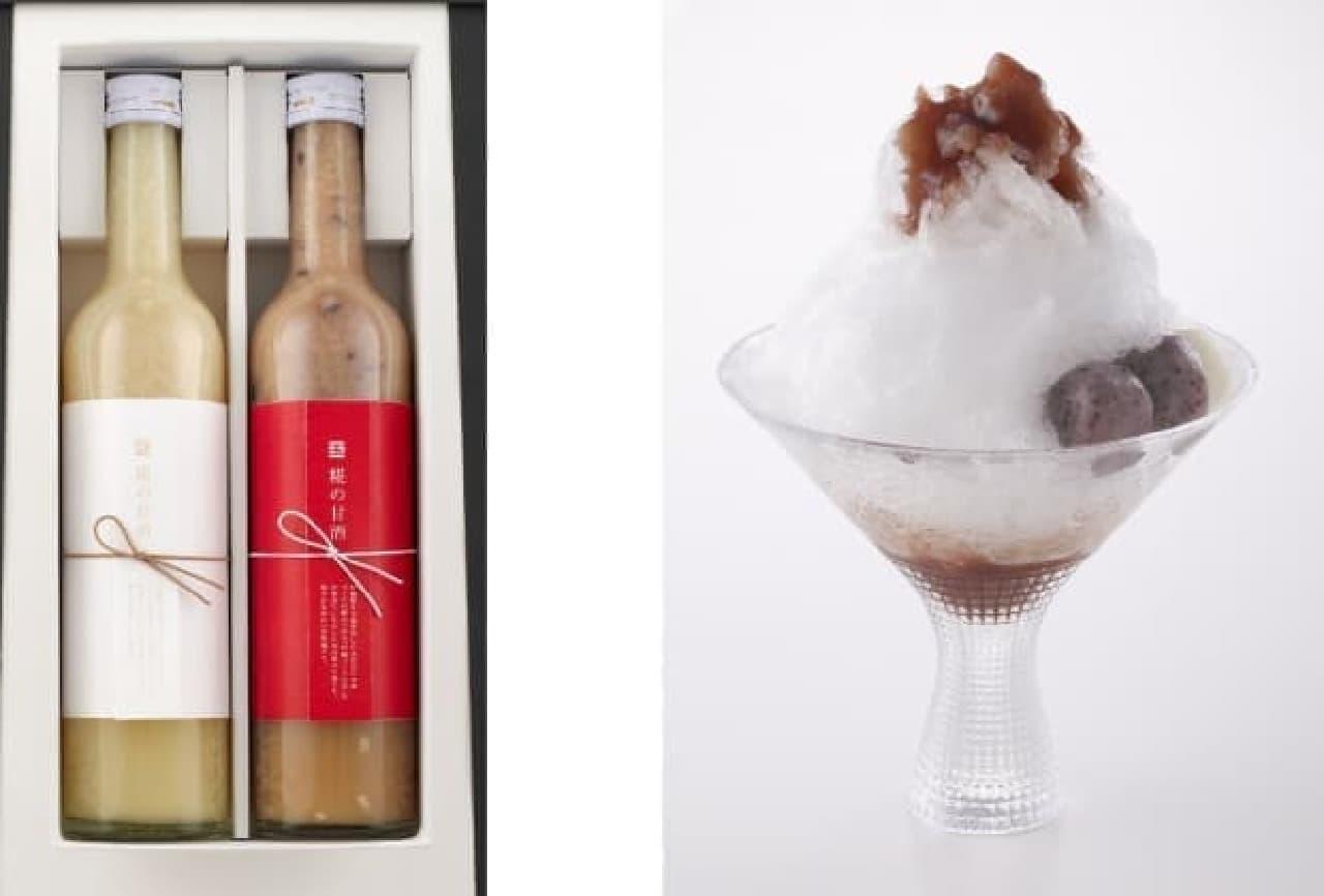 左:糀の甘酒 吟醸麹・古代米  右:五穀屋かき氷 雪の酵