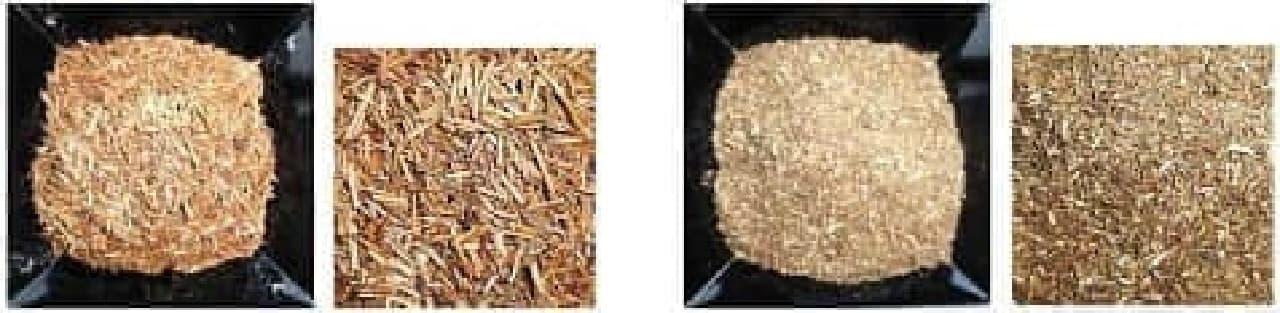 左:棒茶 右:一般的なほうじ茶の茶葉