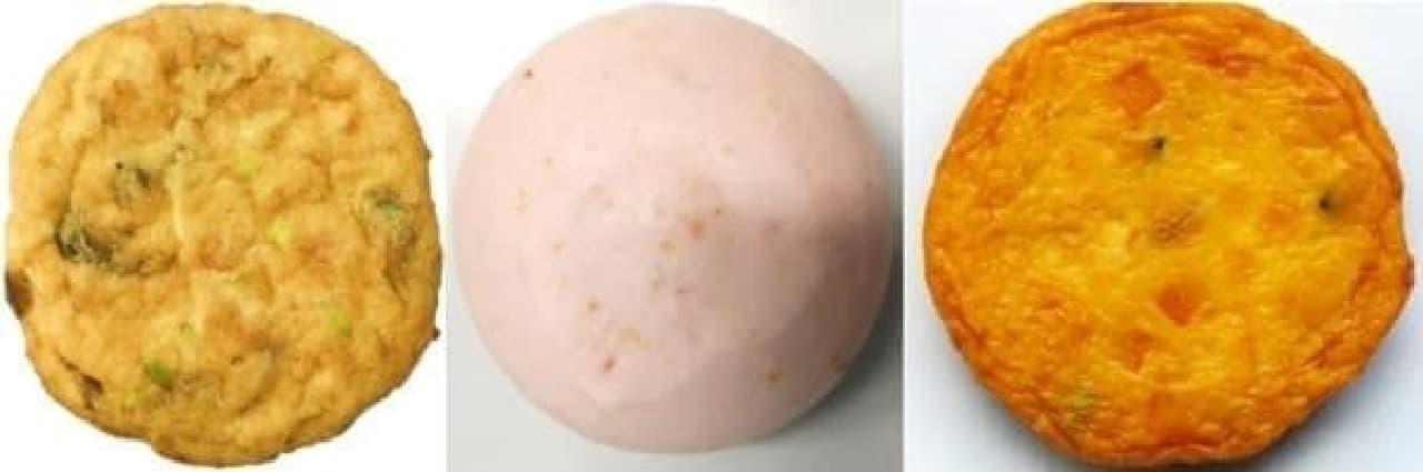 写真左から国産6種具材のがんも、トマトはんぺん、豆腐とかぼちゃのさつま揚