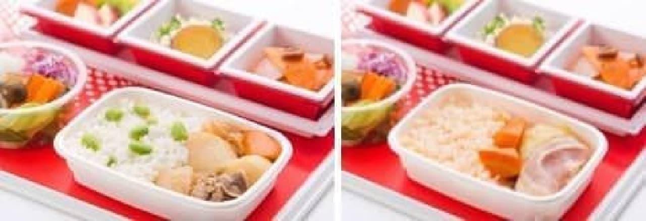 左がこくうま肉じゃが、右がなつかしロールキャベツ(イメージ)  (出典:JAL公式サイト)