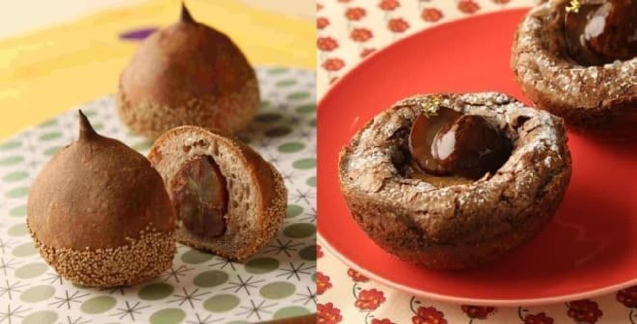 ごろっと栗が入った「シャティーニュ」(左)と  昨秋1番人気だった「マロンクリームパン」(右)
