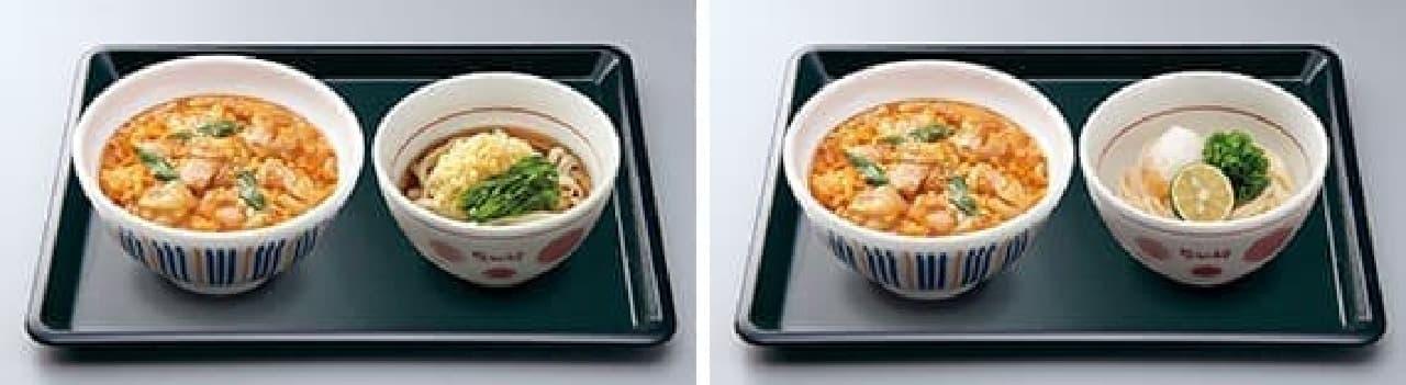 左:親子丼(並)+小うどん 冷やし  右:親子丼(並)+小うどん すだち