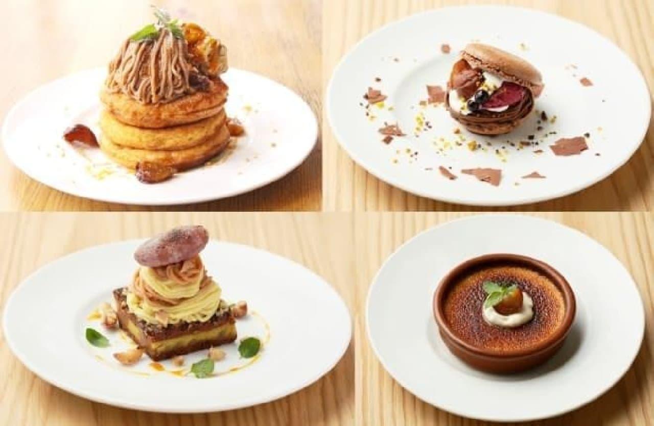 左上からパンケーキ、マカロンサンド、  モンブラン、クレームブリュレ