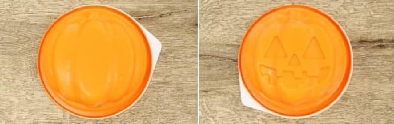 左が普通のかぼちゃ、右がジャック・オ・ランタン