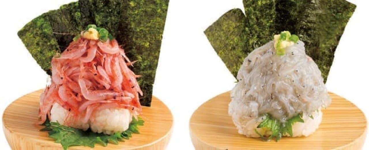 桜えび富士山盛り(左)、生しらす富士山盛り(右)