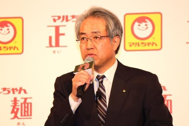 発表会に登壇した、東洋水産 沖常務取締役