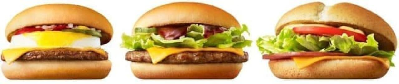 左から、エッグチーズバーガー、バーベキューポークバーガー、ハムレタスバーガー