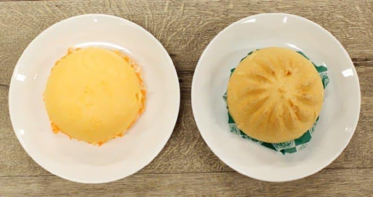 左がいつものピザまん、右が極上ピザまん