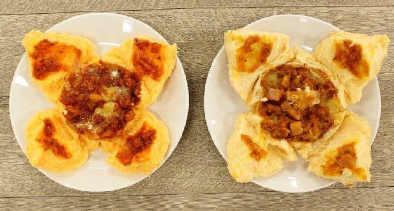 つぼみが開いたいつものピザまん(左)と、極上ピザまん(右)