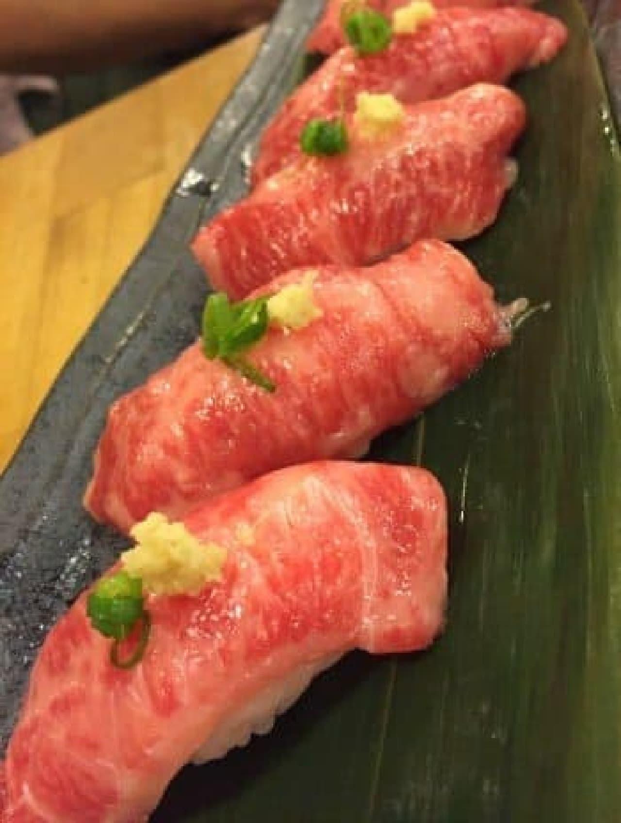 馬肉のお寿司各種