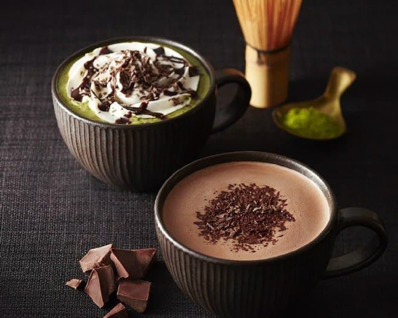 左から「チョコレート&抹茶モカ」「チョコリスタ」