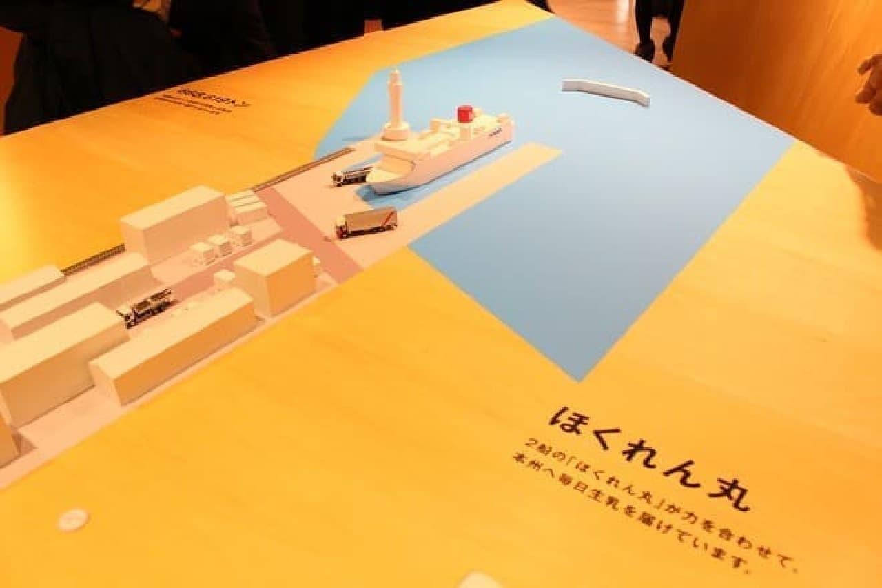テーブルの一部。ちょうど、本州に船が到着したイメージです