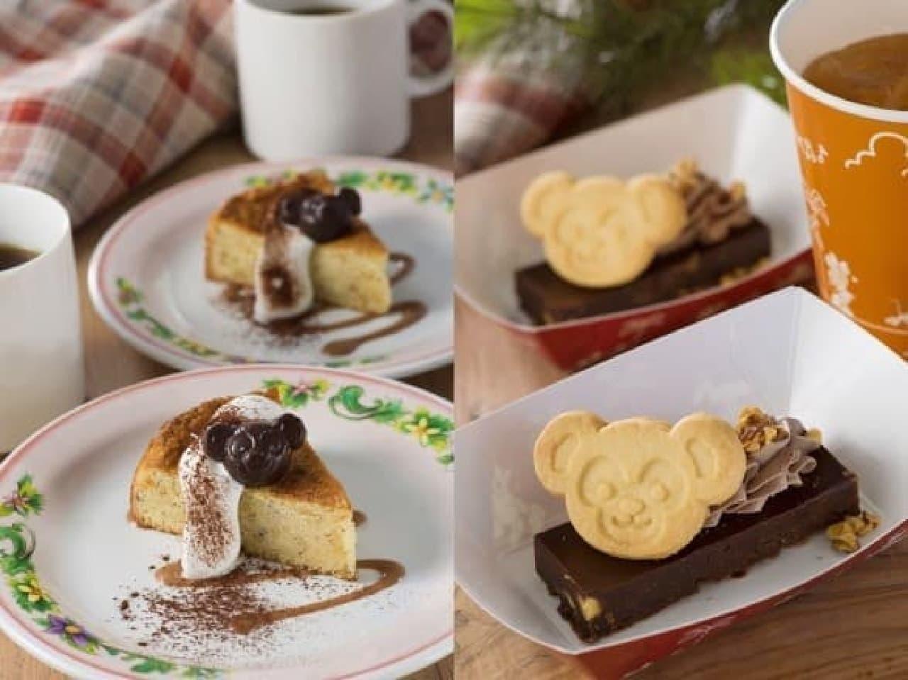 ヘーゼルナッツケーキ(左)、チョコレートブラウニー