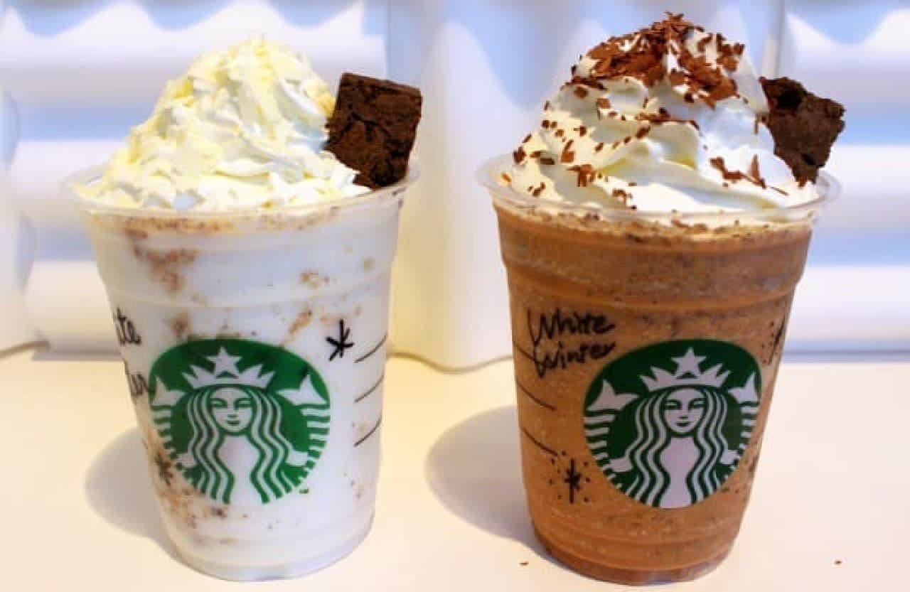 写真左がホワイトチョコを使った白いチョコラティ
